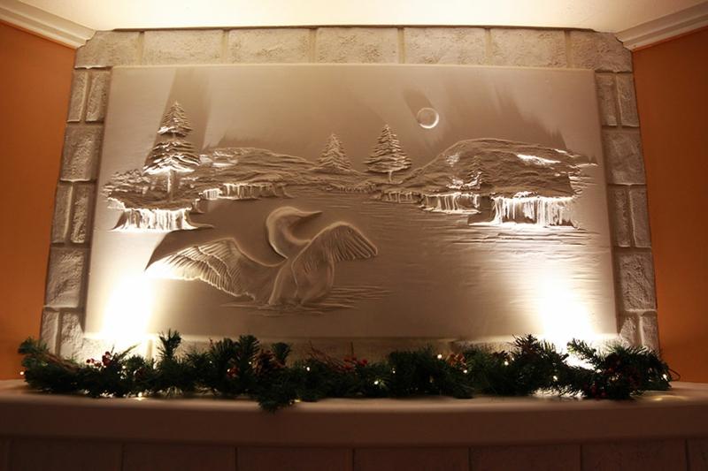 Trockenbauer Bernie Mitchell 3D Wanddeko Ideen Trockenbauwand Kamindeko Weihnachten