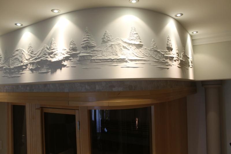 Trockenbauer Bernie Mitchell 3D Wanddeko Ideen Trockenbauwand Tannenbäume