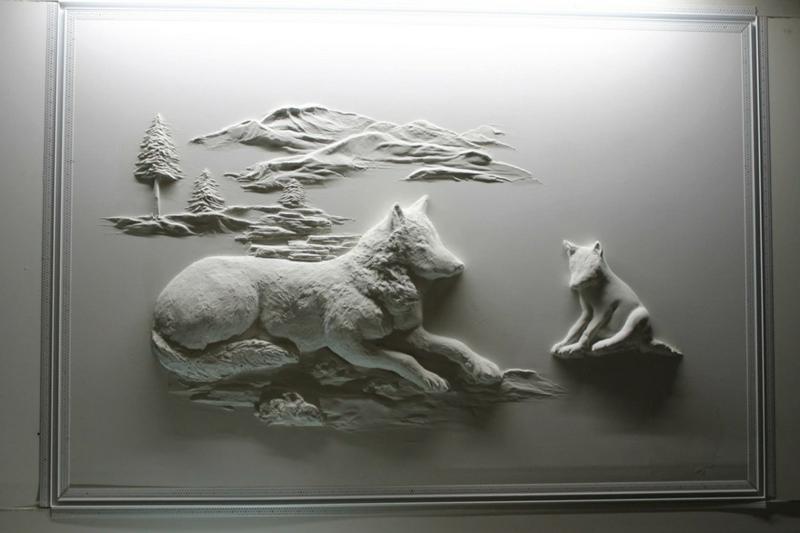 TrockenbauerBernie Mitchell 3D Wanddeko Ideen Trockenbauwand Wolf im Wald