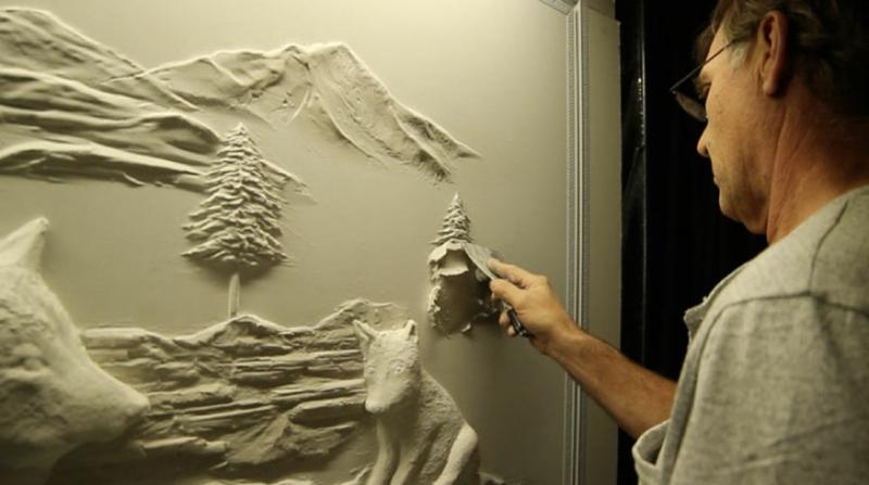 Trockenbauer Bernie Mitchell am Arbeiten 3D Wanddeko Ideen Trockenbauwand