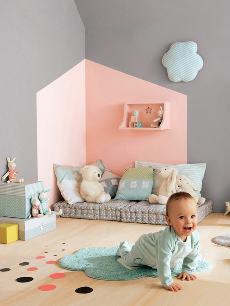 Babyzimmer wände streichen  Wandfarben Ideen für innen und außen - 45 Farbideen
