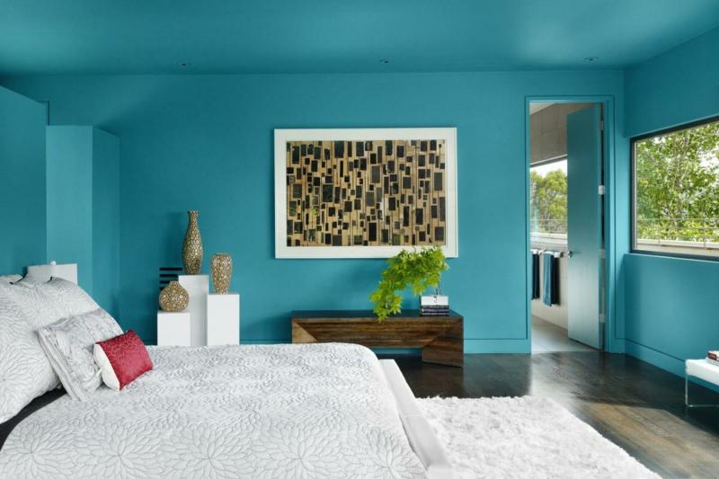 Wandfarben Ideen Blau Deckenfarbe Wände streichen Farbideen