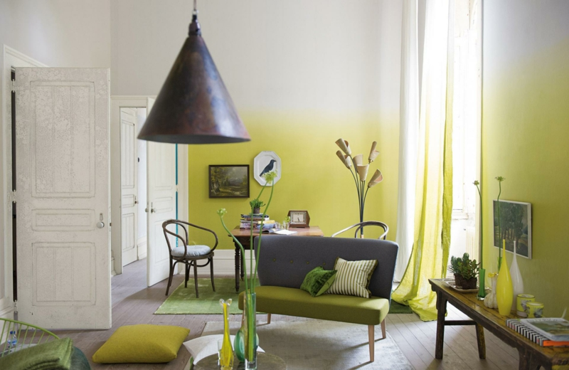 Wandfarben Ideen Wände streichen Farbideen Ombre Effekt