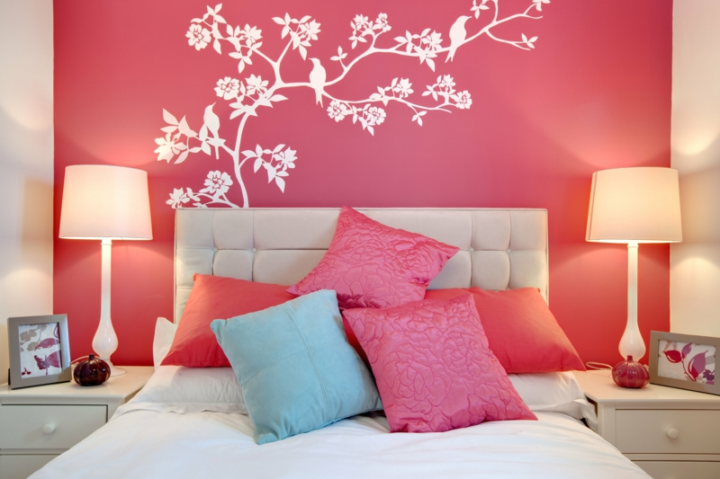 Wandfarben Ideen rosa Wanfarbe Schlafzimmer Wände streichen Farbideen