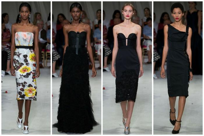 abendkleid abendkleider knielang schwarz blumenmuster sommer 2016 new york fashion week