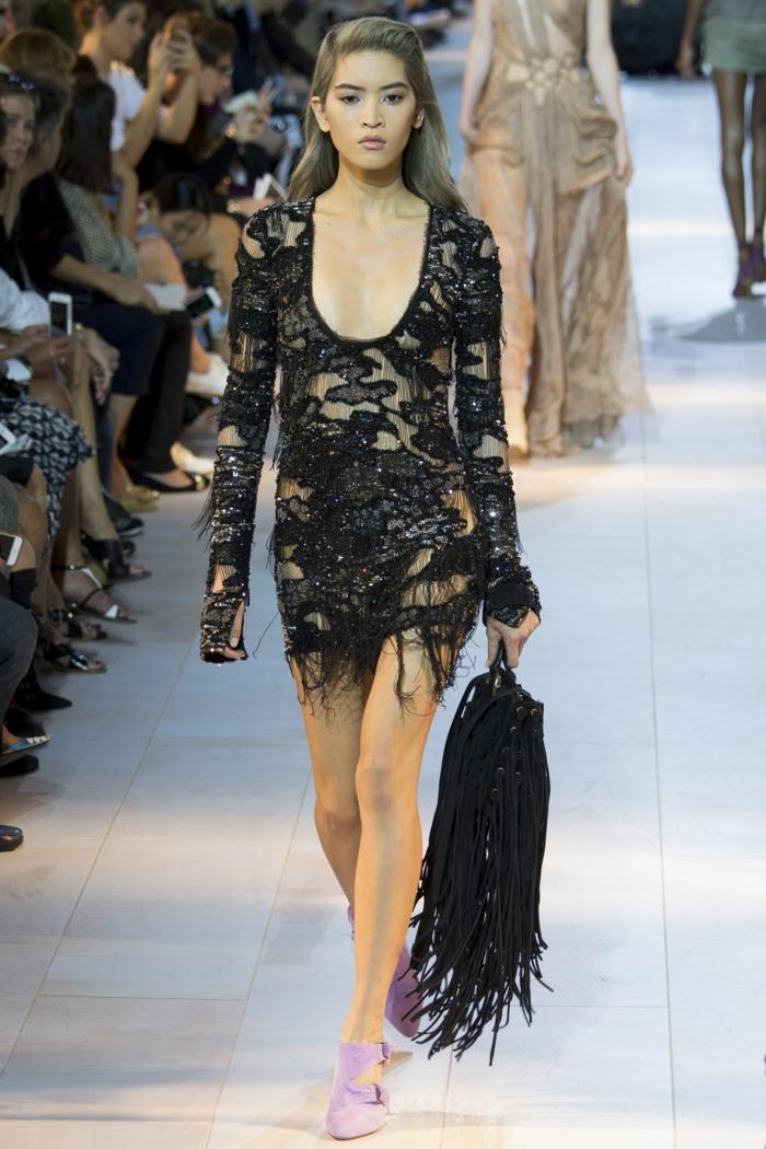 abendkleid abendkleider kurz cocktailkleider schwarze spitze franse sommerkollektion 2016 roberto cavalli