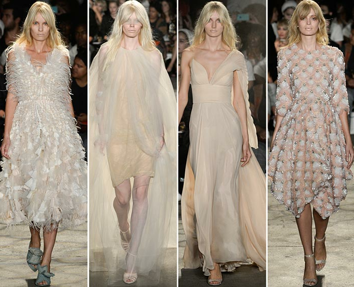 abendkleid abendkleider lang cocktailkleid creme weiß new york fashion week sommer 2016 christian siriano