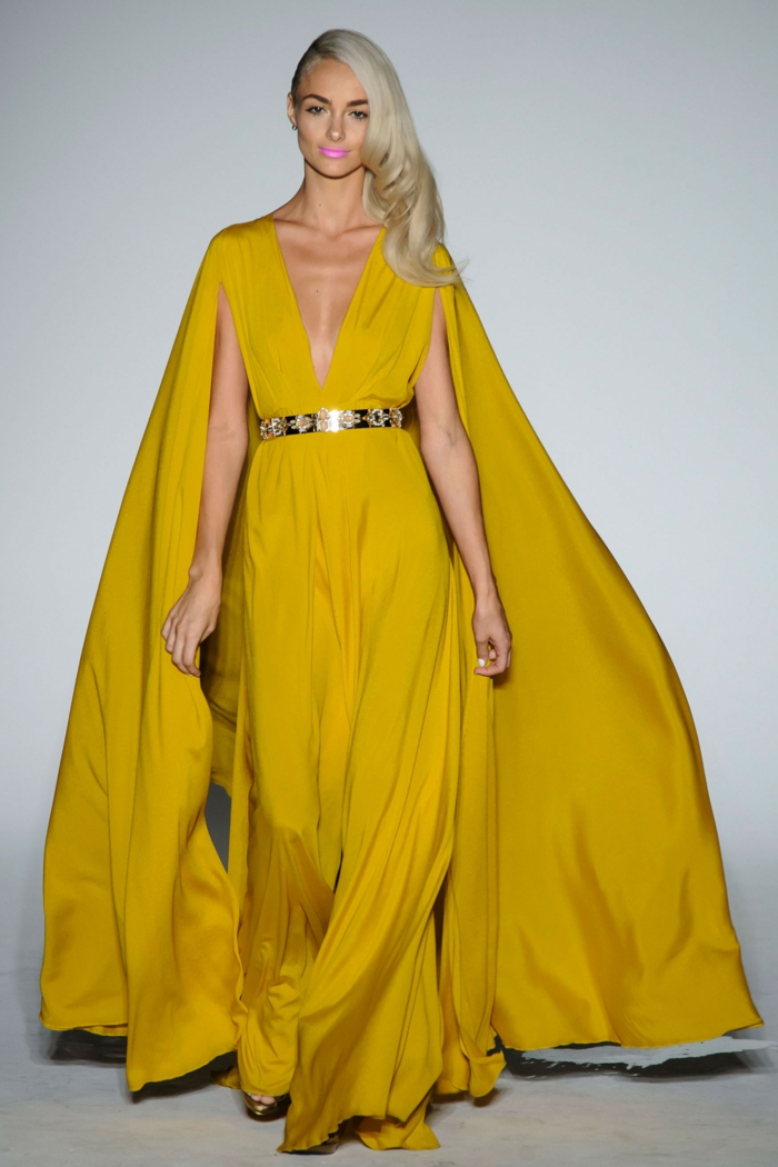abendkleid abendkleider lang gelb sommer kollektion 2016 michael costello