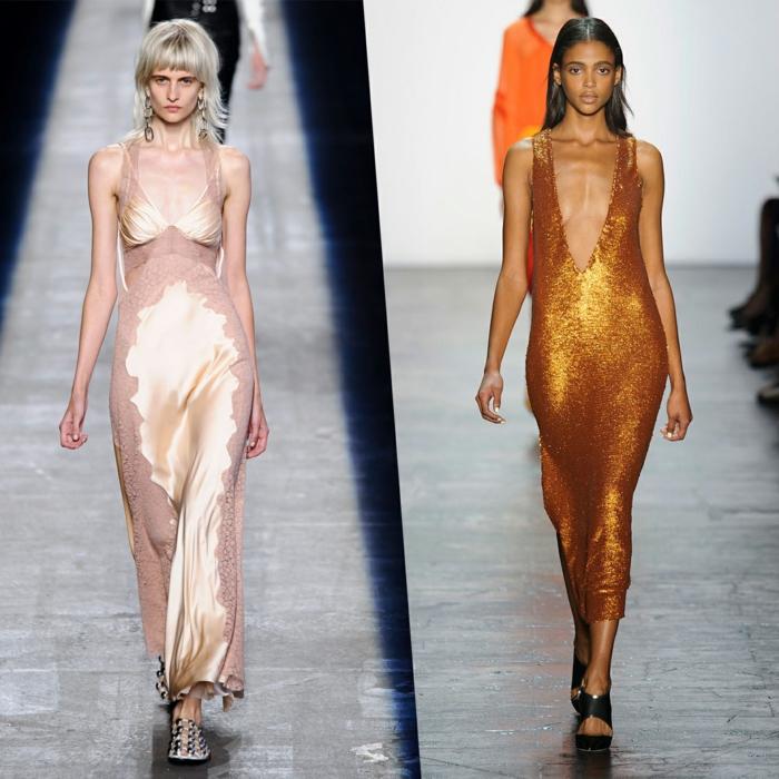 abendkleid abendkleider lang glänzend satin gold sommer kollektion 2016 monique lhuillier