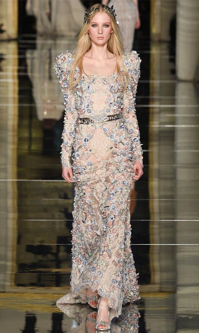abendkleider haute couture sommerkollektion 2016 stickereien blumenmuster zuhair murad