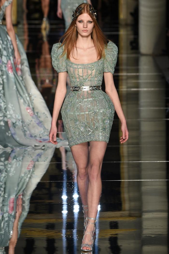 abendkleider kurz haute couture pastellgrün stickereien 2016 sommerkollektion zuhair murad
