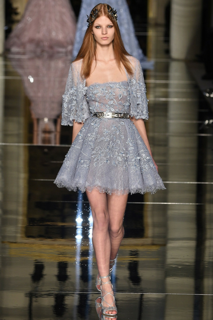 abendkleider kurz taubenblau spitze tüll haute couture frühling sommer kollektion 2016 zuhair murad