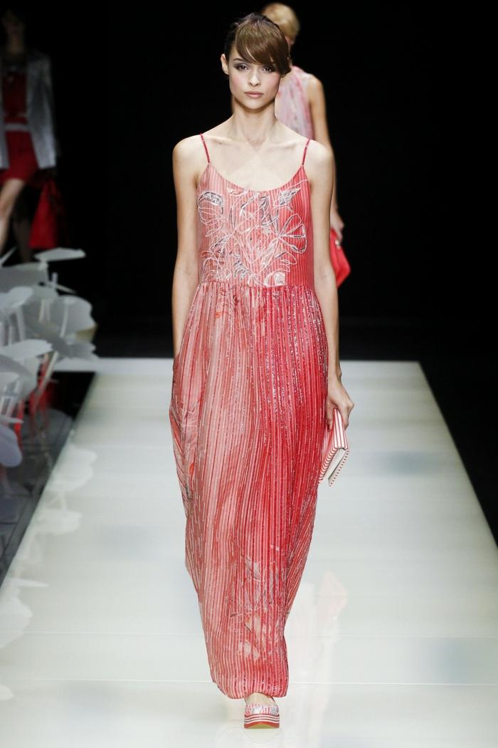 abendkleider lang rosa silberglanz milan fashion sommerkollektion 2016 giorgio armani