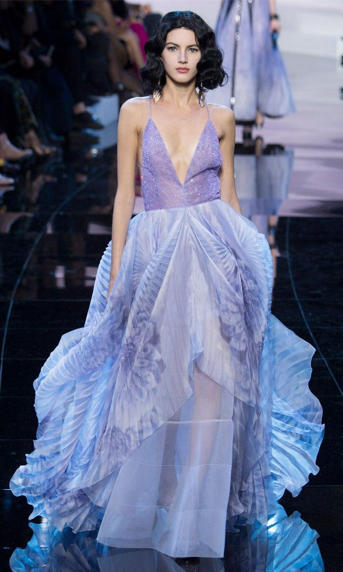 abendkleider lang satin chiffon lila haute couture 2016 armani prive