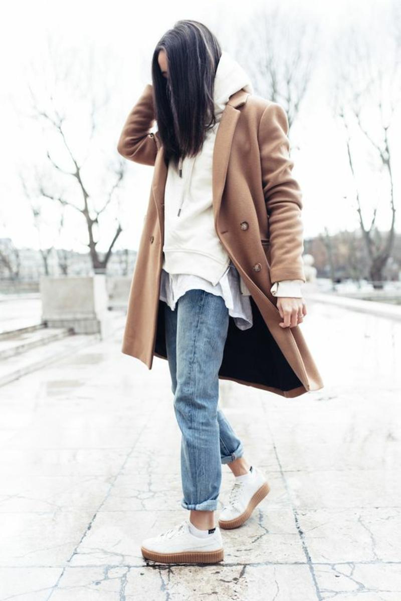 aktuelle Modetrends 2016 Farbtrends beige Wintermantel