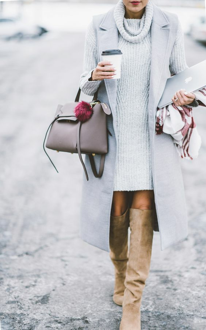aktuelle Modetrends 2016 Strickmode Damenpullover Weste grau