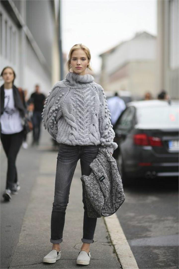 aktuelle Modetrends 2016 Strickmode Damenpullover grau Rollkragenpullover