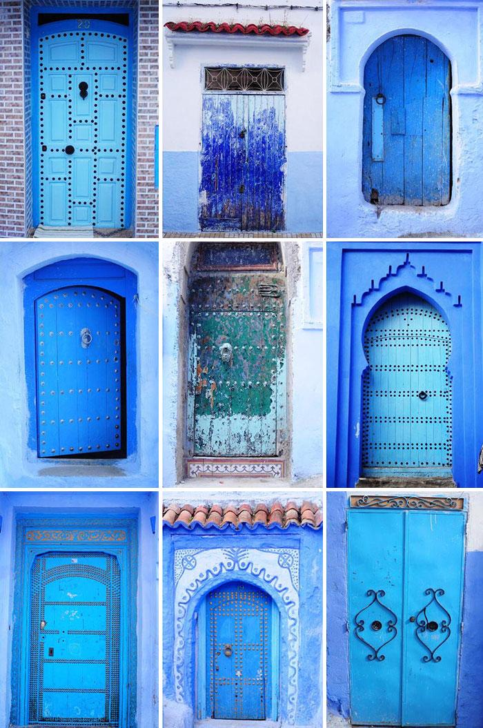 alte Haustüren blau bemalen DIY Ideen günstige Haustüre
