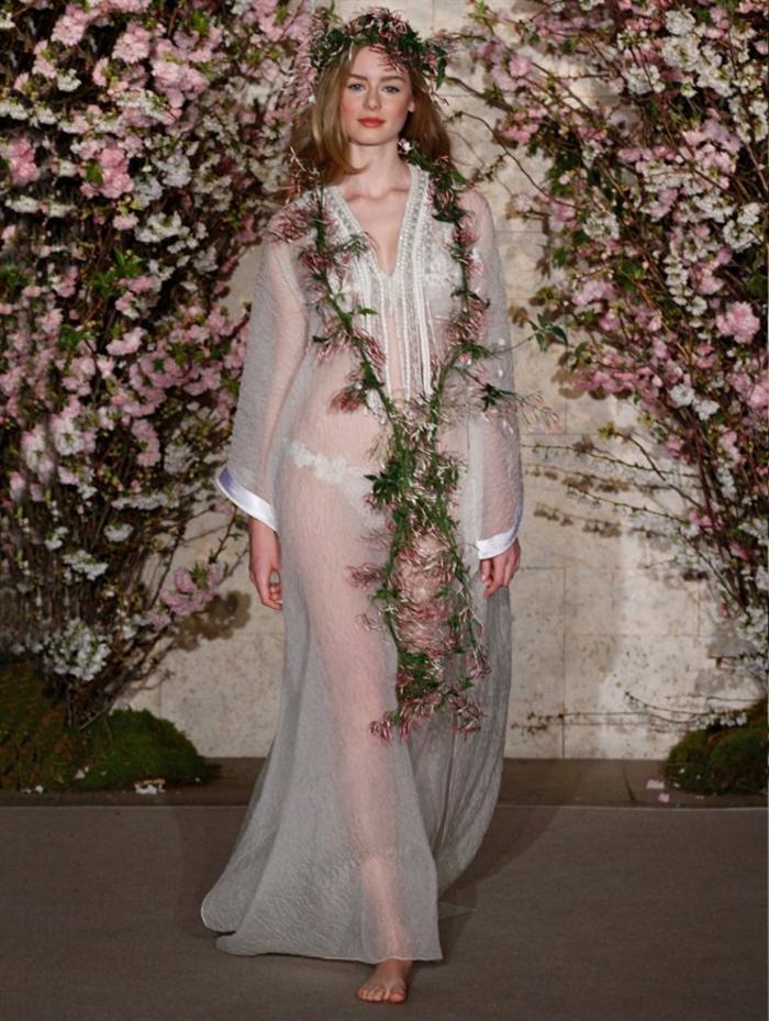 ausgefallene brautkleider haute couture hochzeitskleid durchsichtig blumen oscar de la renta