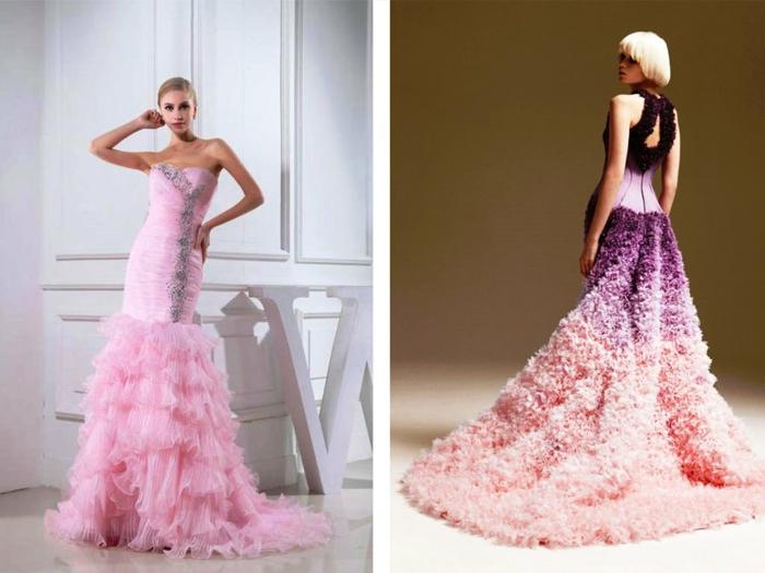 ausgefallene brautkleider haute couture hochzeitskleider rosa pink
