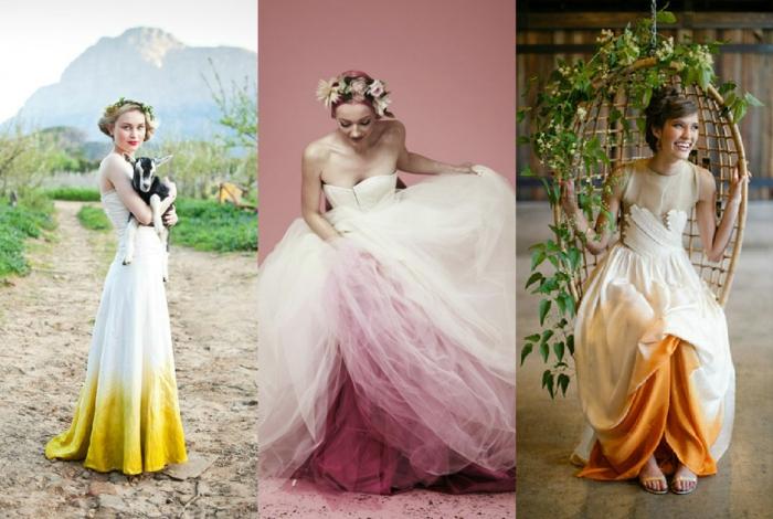 ausgefallene brautkleider ombre stil hochzeitskleider tül natur