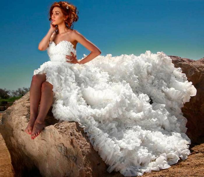 ausgefallene brautkleider recycling hochzeitskleid toilettenpapier