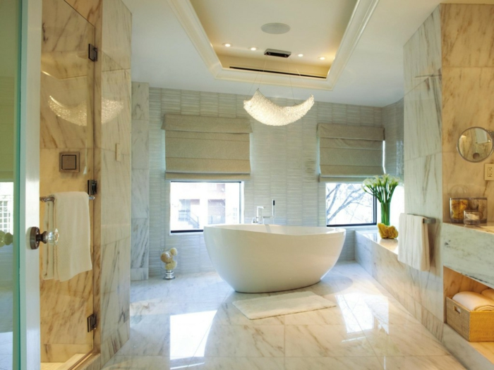 badefliesen badideen hell freistehende badewanne dekoideen
