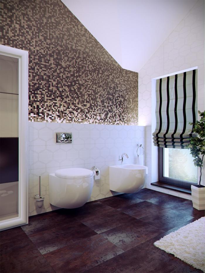 badefliesen coole akzentwand weißer teppich badideen