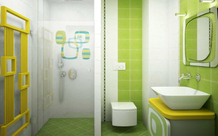 badefliesen farbig grün gelbe akzente badideen