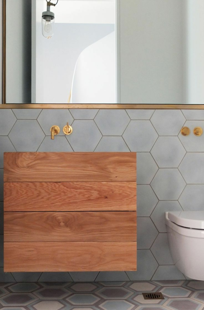 Badefliesen Fliesendesign Hexagon Waschbeckenunterschrank Wandspiegel  Badezimmerfliesen Im Blickfang U2013 100 Ideen ...