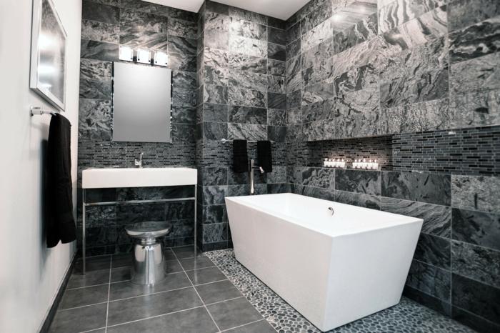 badefliesen graues badezimmer badewanne weiße akzentwand