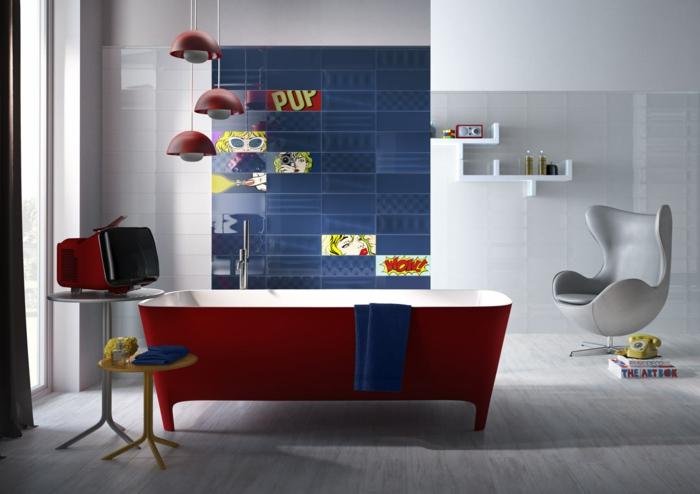 badefliesen keramische wandfliesen ausgefallene badewanne rot sessel