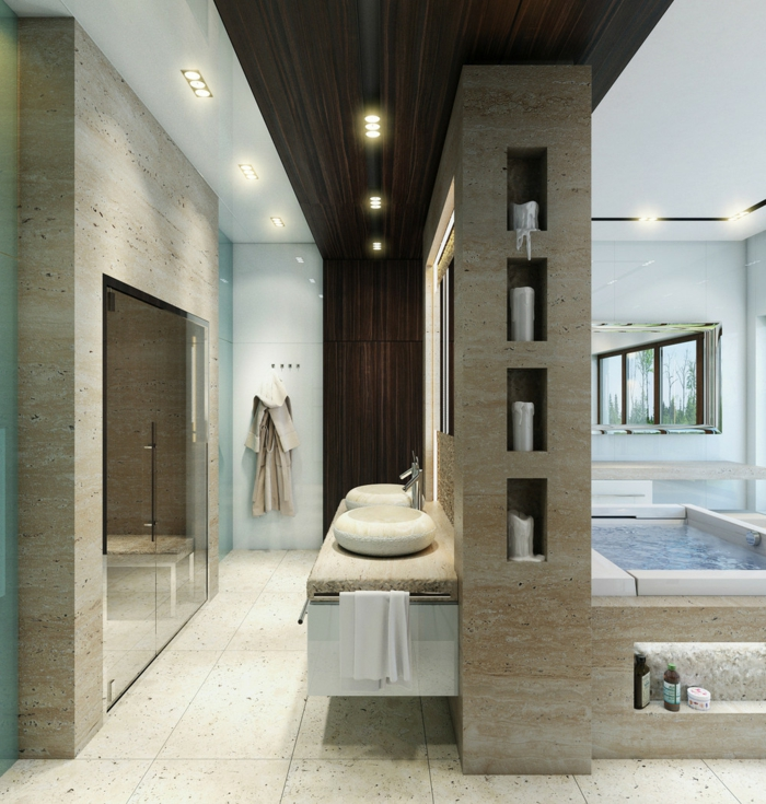 badefliesen luxuriösees badezimmer waschbecken regalsystem