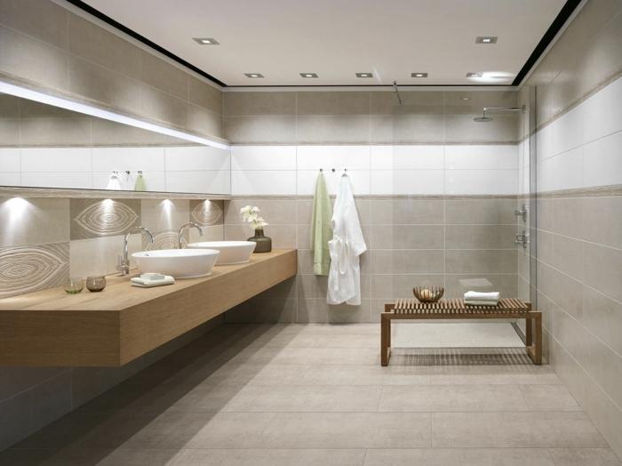 badefliesen neutrale farbtöne badideen badspiegel beistelltisch beleuchtung