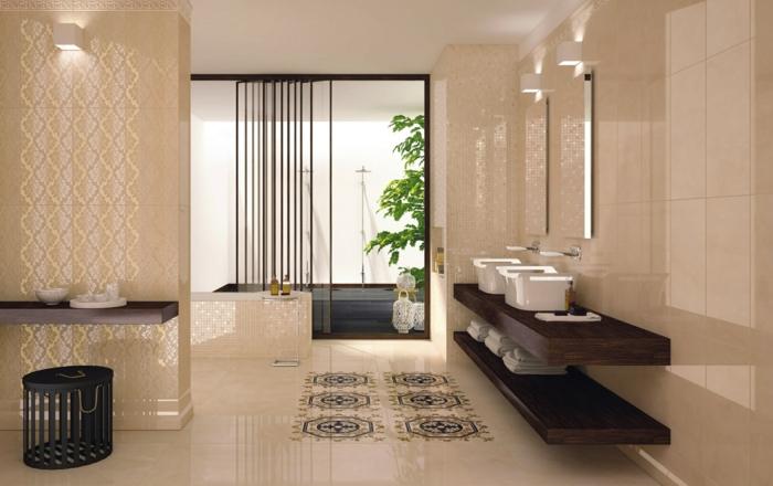 badezimmerfliesen beige dezent stauraum badideen beleuchtung pflanzen
