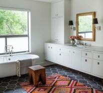 Badezimmerfliesen im Blickfang – 100 Ideen für Designs und Muster