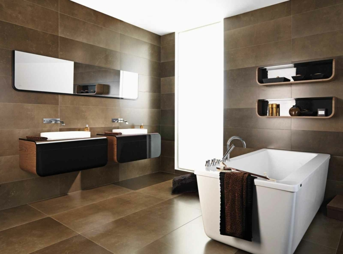 badezimmer braun badezimmerfliesen keramikfliesen braunnuancen schick freistehende badewanne