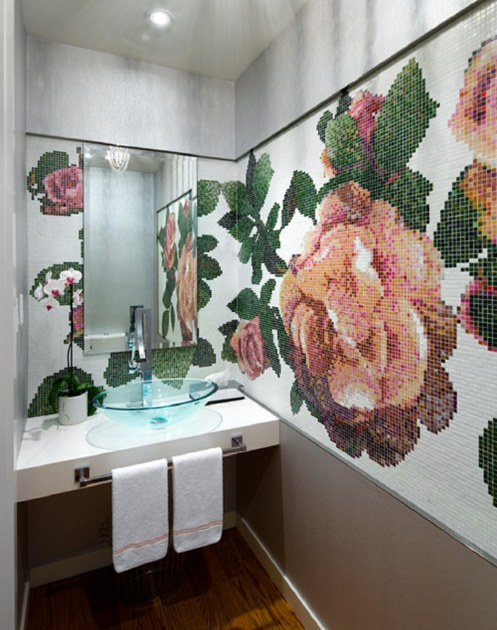badefliesen mosaik cooles muster floral badideen