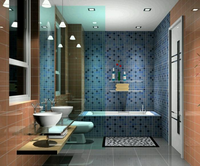 badezimmerfliesen mosaikfliesen wände gestalten ideen badewanne hängeleuchten