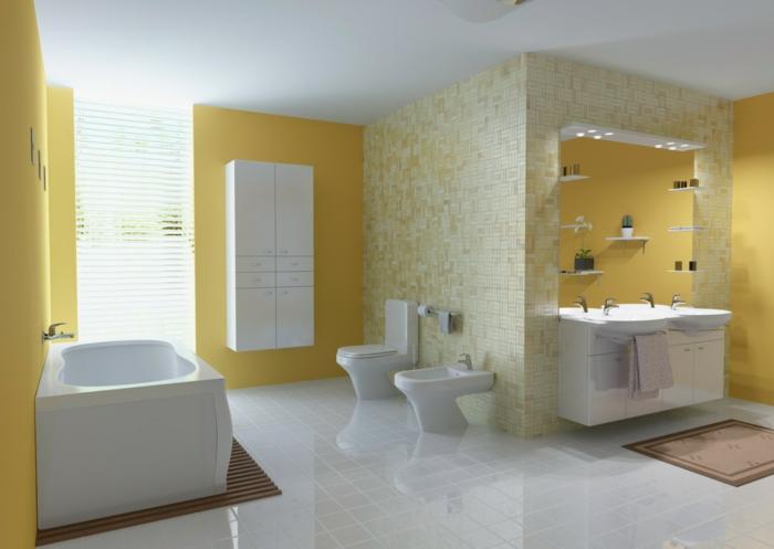 badezimmerfliesen mosaikfliesen weiße bodenfliesen gelbe wände weiße sanitärobjekte