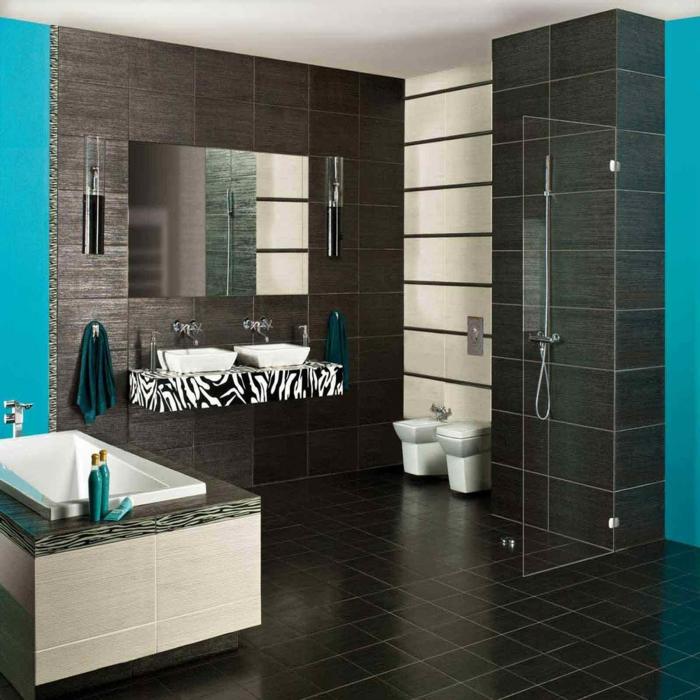 badezimmerfliesen porzellanfliesen boden wand blaue wände dusche badewanne waschbecken