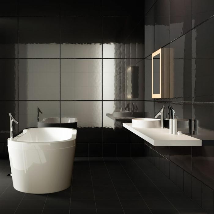 badezimmerfliesen porzellenfliesen schwarze badefliesen weiße badewanne freistehend