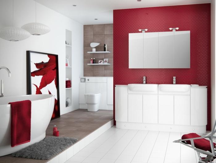 badefliesen rote mosaikfliesen weiße sanitärobjekte pendelleuchten