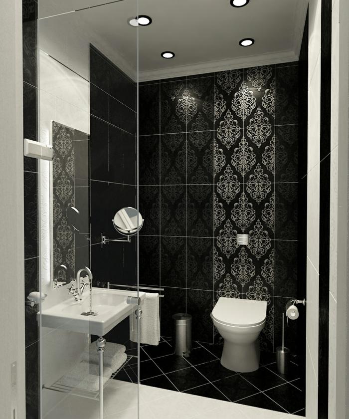 badezimmerfliesen schwarz muster badideen weiße elemente