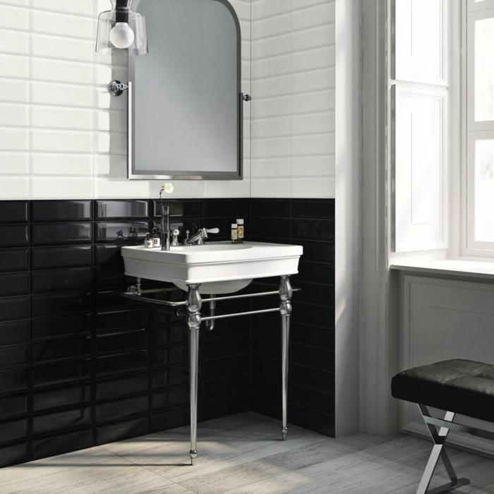 badezimmerfliesen weiß schwarz wandgestaltung badideen
