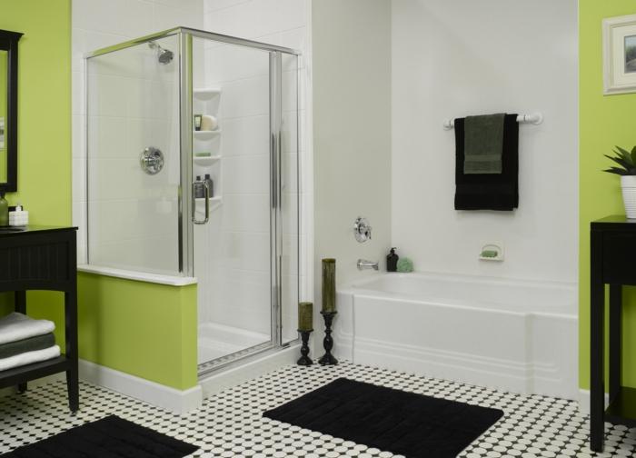 badezimmerfliesen weiße wandfarbe grüne akzente dusche badewanne