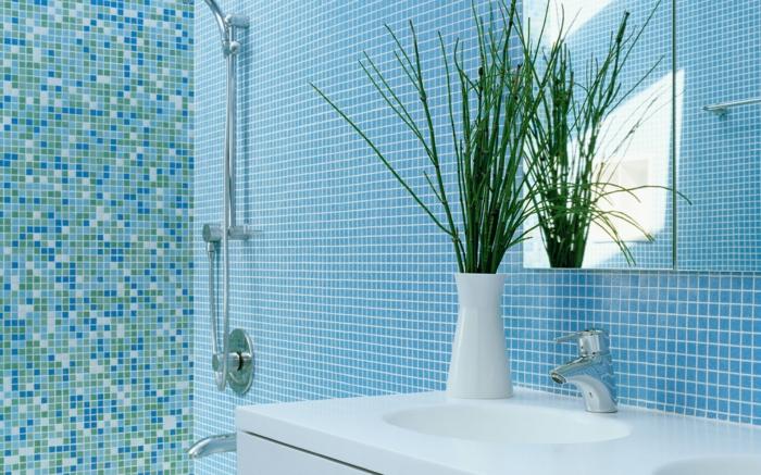 badideen badezimmerfliesen blau grün mosaikfliesen pflanze
