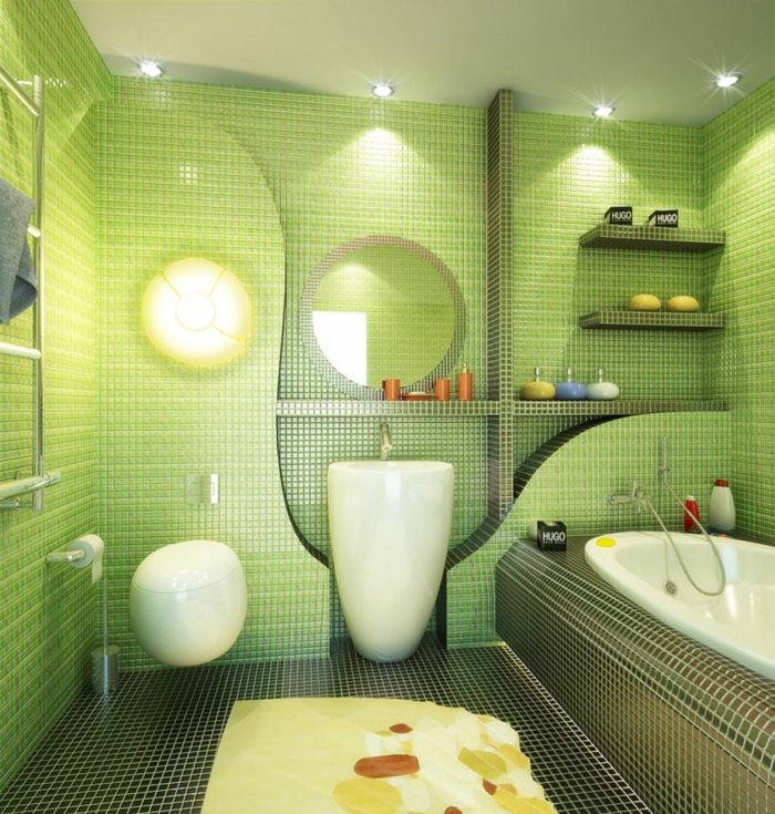 badideen grüne badezimmerfliesen mosaikfliesen offene regale