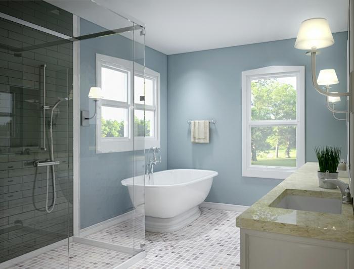 badideen kleine räume mosaikfliesen bodenbelag hellblaue wandfarbe dusche