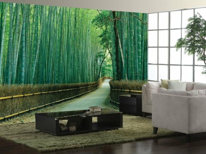 dekoideen deko aus bambus wanddeko fototapete
